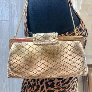 Vintage Gold Clutch with optional cord strap